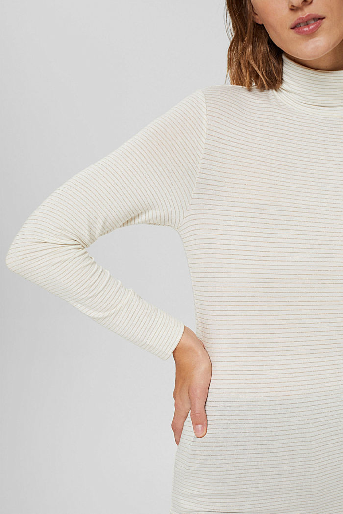 Long sleeve top with a polo neck collar and glittery stripes, OFF WHITE, detail image number 2