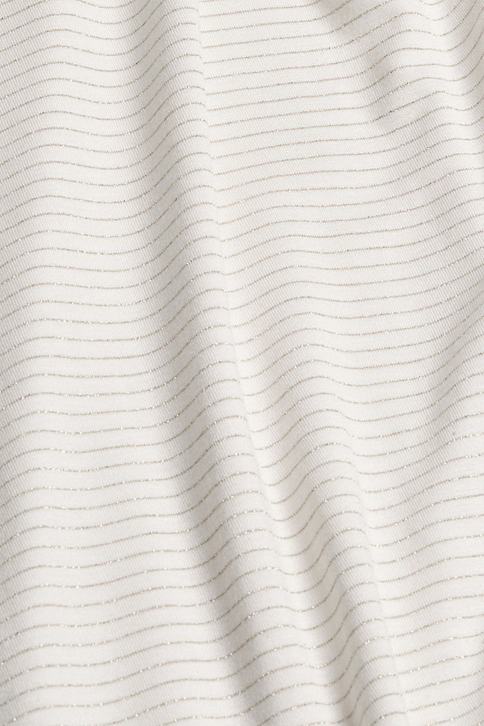 Long sleeve top with a polo neck collar and glittery stripes, OFF WHITE, detail image number 4