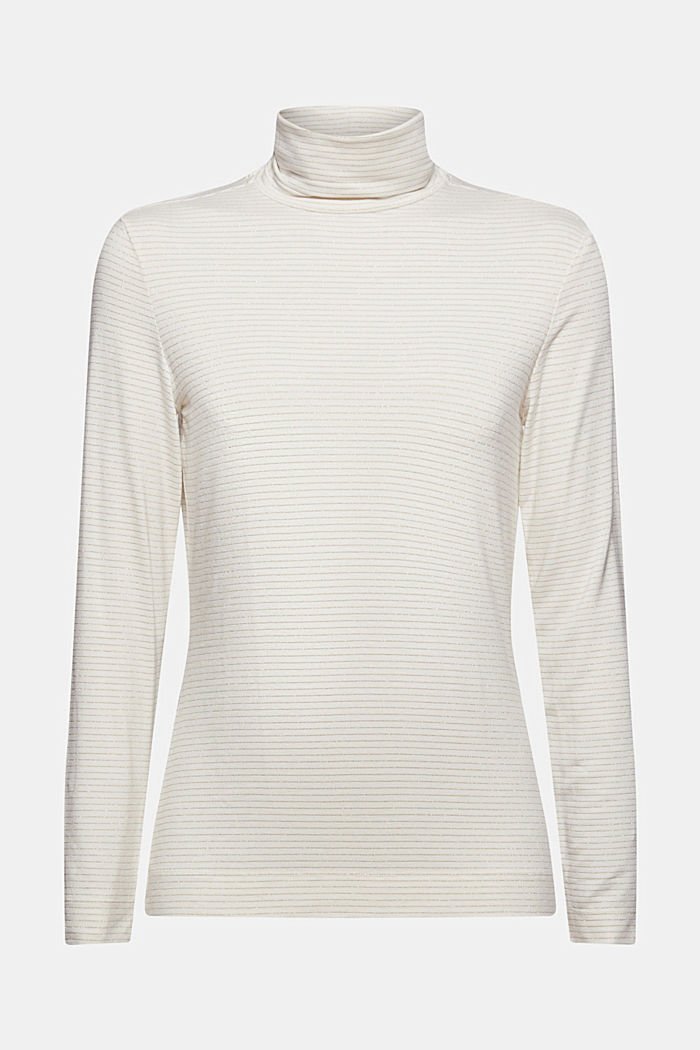 Long sleeve top with a polo neck collar and glittery stripes, OFF WHITE, detail image number 5