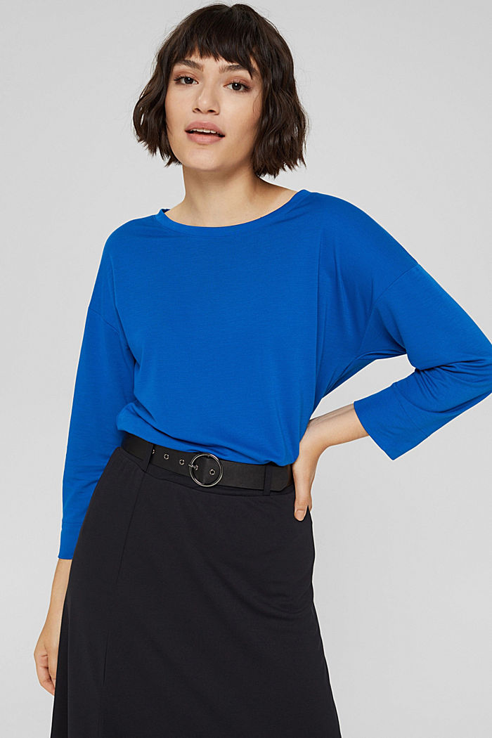 Long sleeve top with a print on the back, BRIGHT BLUE, detail image number 5