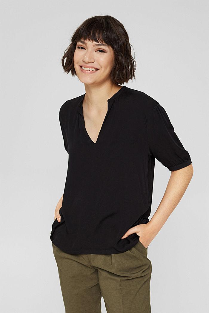 Haut façon blouse à teneur en LENZING™ ECOVERO™, BLACK, detail image number 0
