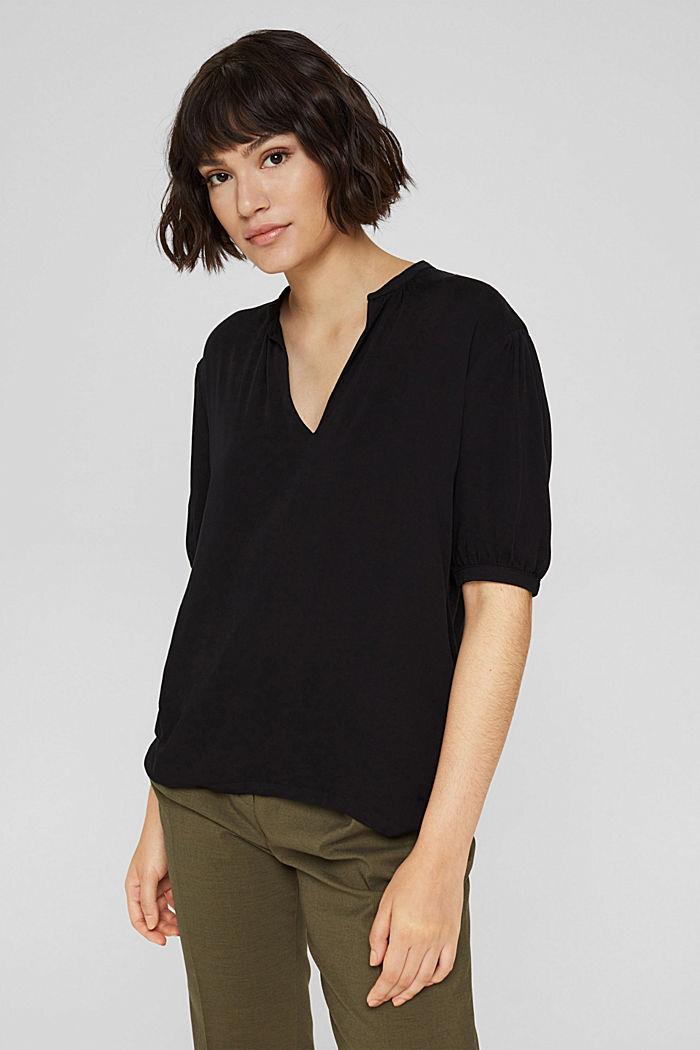 Haut façon blouse à teneur en LENZING™ ECOVERO™, BLACK, detail image number 5
