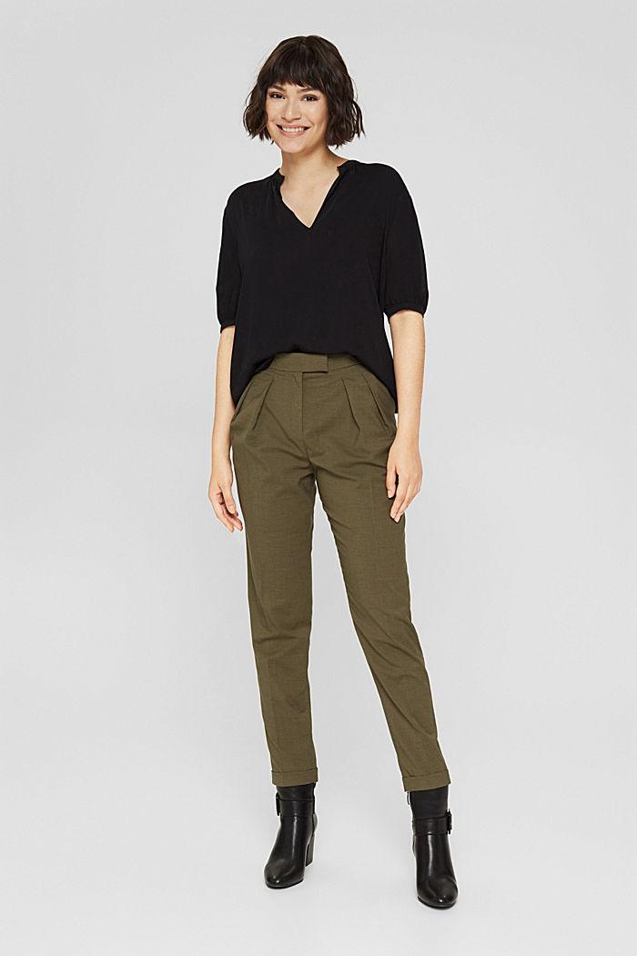 Haut façon blouse à teneur en LENZING™ ECOVERO™, BLACK, detail image number 1