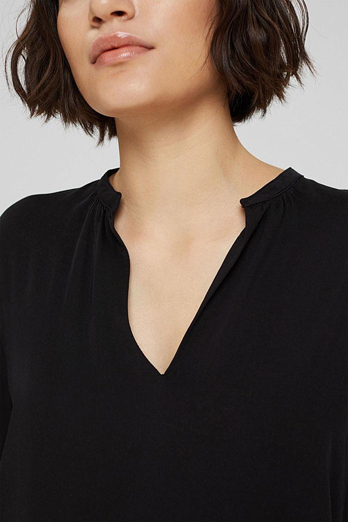 Haut façon blouse à teneur en LENZING™ ECOVERO™, BLACK, detail image number 2