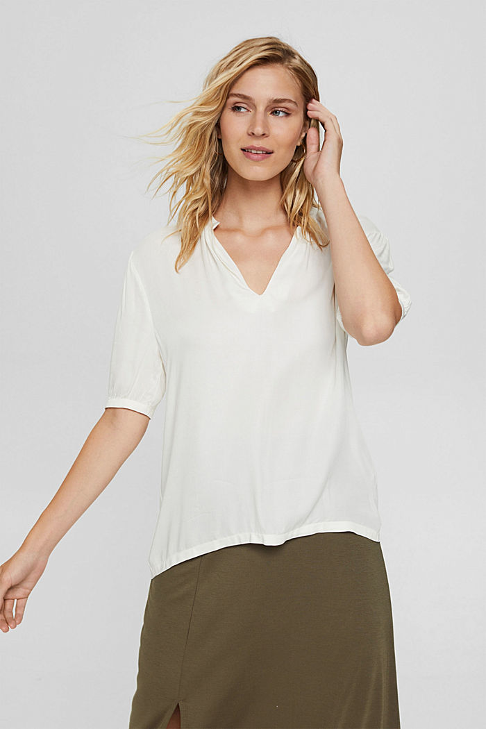 Blouse top with LENZING™ ECOVERO™, OFF WHITE, detail image number 0