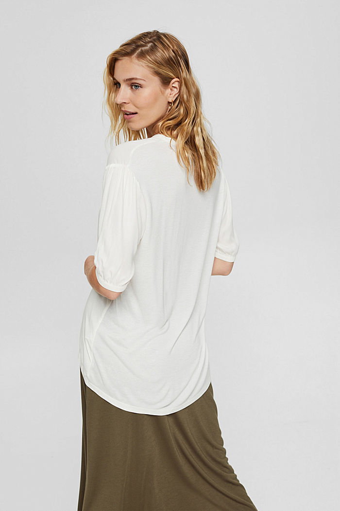 Blouse top with LENZING™ ECOVERO™, OFF WHITE, detail image number 3