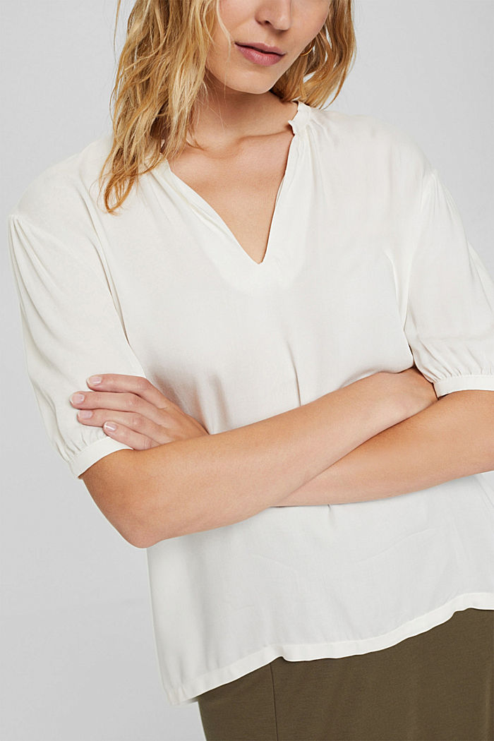 Blouse top with LENZING™ ECOVERO™, OFF WHITE, detail image number 2