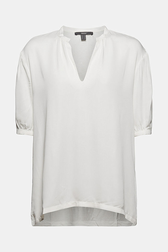 Blouse top with LENZING™ ECOVERO™, OFF WHITE, detail image number 6