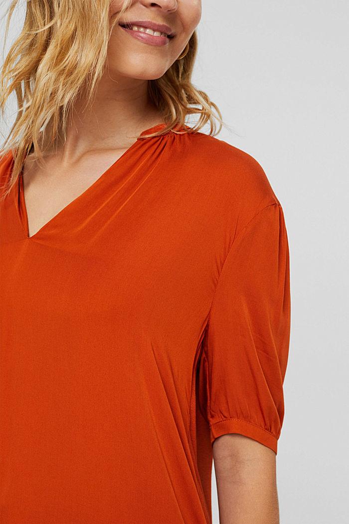 Haut façon blouse à teneur en LENZING™ ECOVERO™, TERRACOTTA, detail image number 2