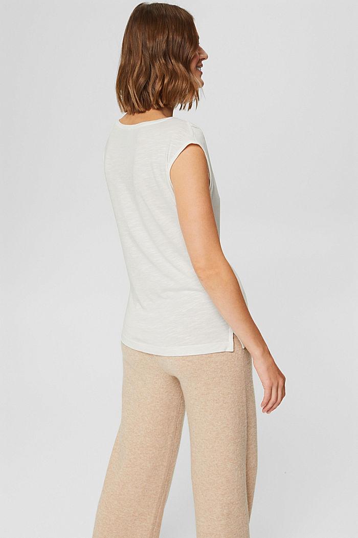 T-shirt à inscription en TENCEL™ et coton biologique, OFF WHITE, detail image number 3