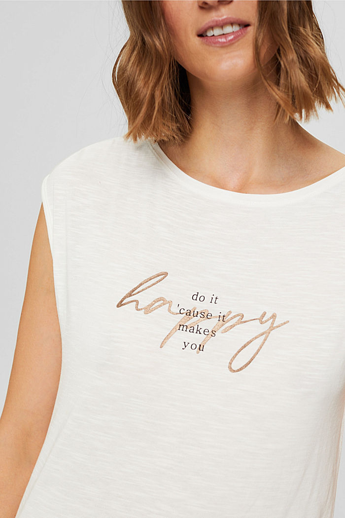 T-shirt à inscription en TENCEL™ et coton biologique, OFF WHITE, detail image number 2