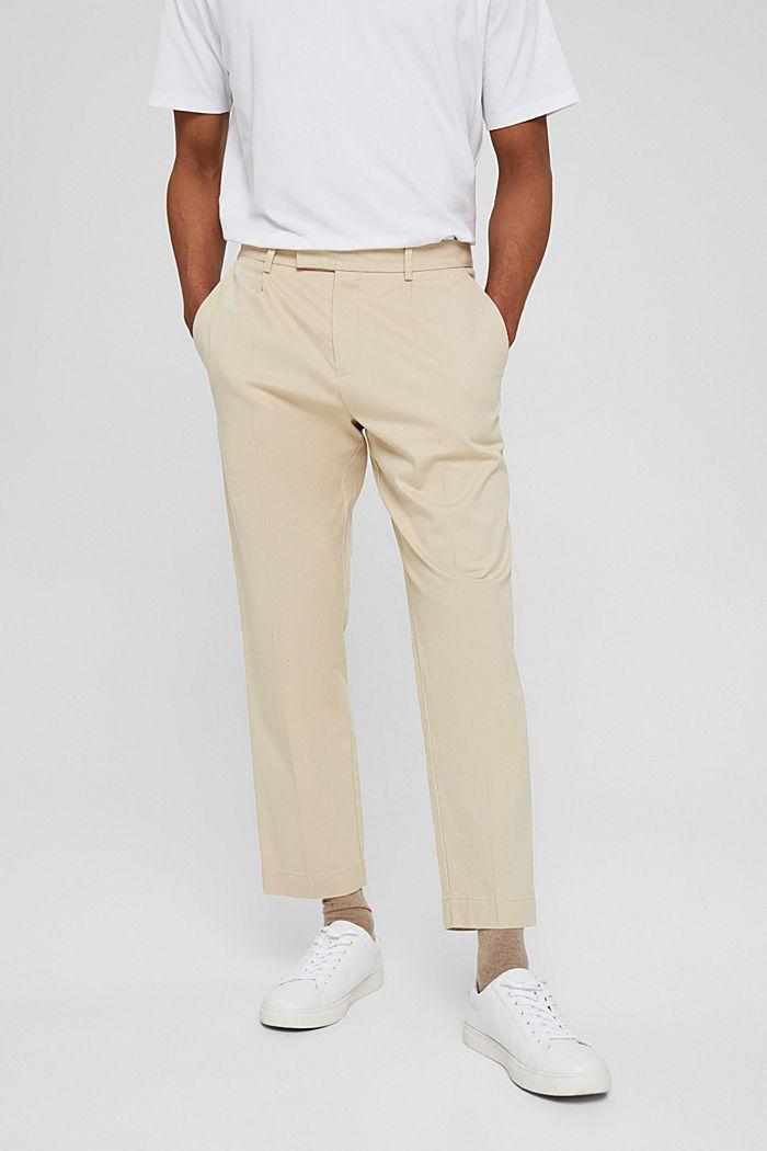Cropped Hose aus Baumwoll-Stretch, BEIGE, detail image number 0