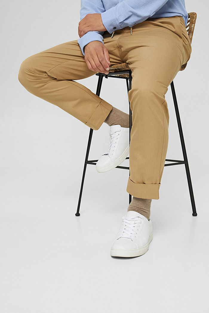 Chinos with an elasticated waistband made of blended organic cotton, BEIGE, detail image number 6