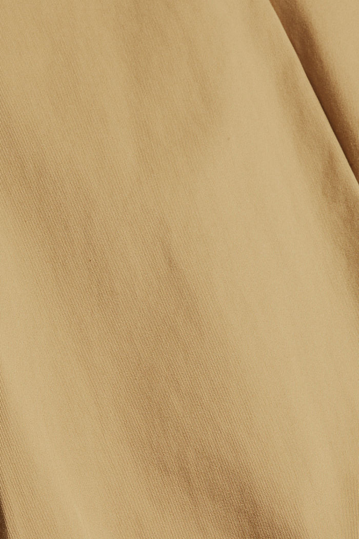 Chinos with an elasticated waistband made of blended organic cotton, BEIGE, detail image number 4