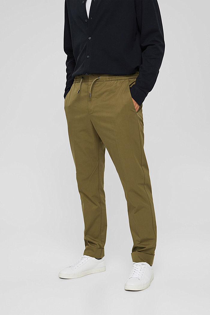 Chinos with an elasticated waistband made of blended organic cotton, LIGHT KHAKI, detail image number 0