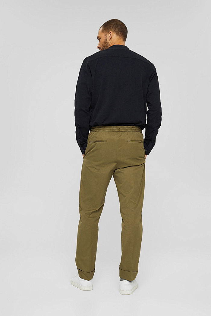 Chinos with an elasticated waistband made of blended organic cotton, LIGHT KHAKI, detail image number 3