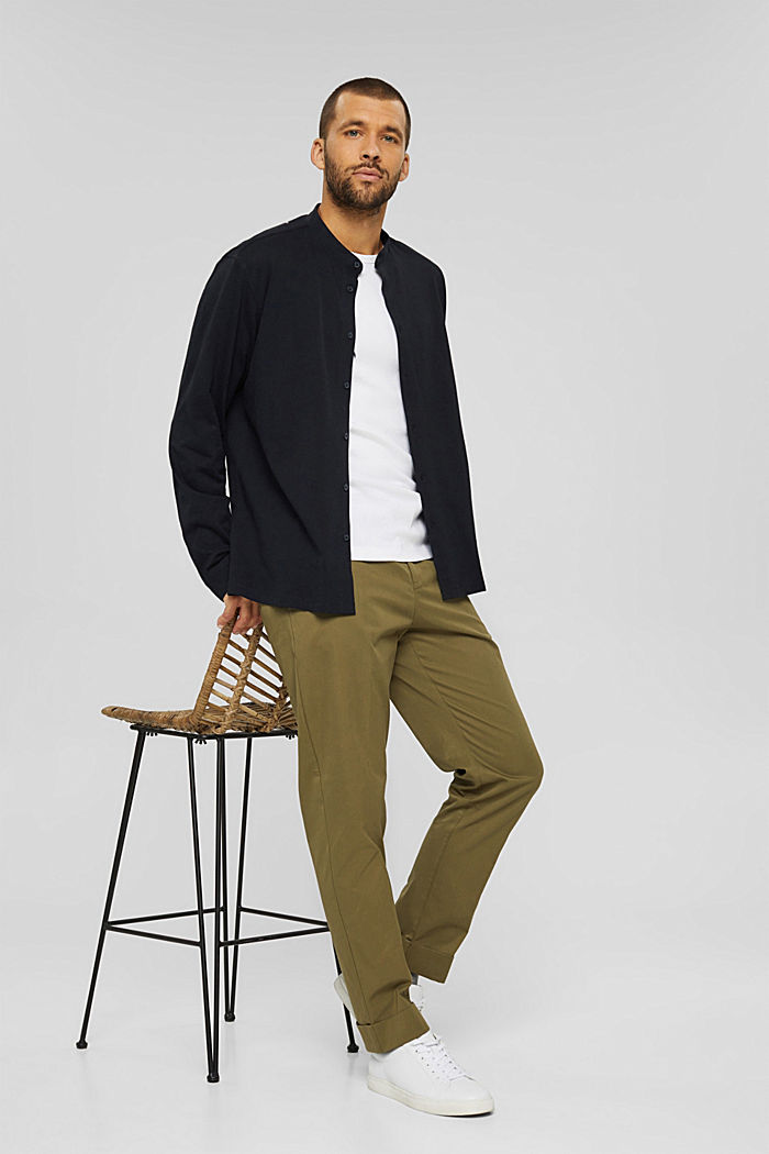 Chinos with an elasticated waistband made of blended organic cotton, LIGHT KHAKI, detail image number 1
