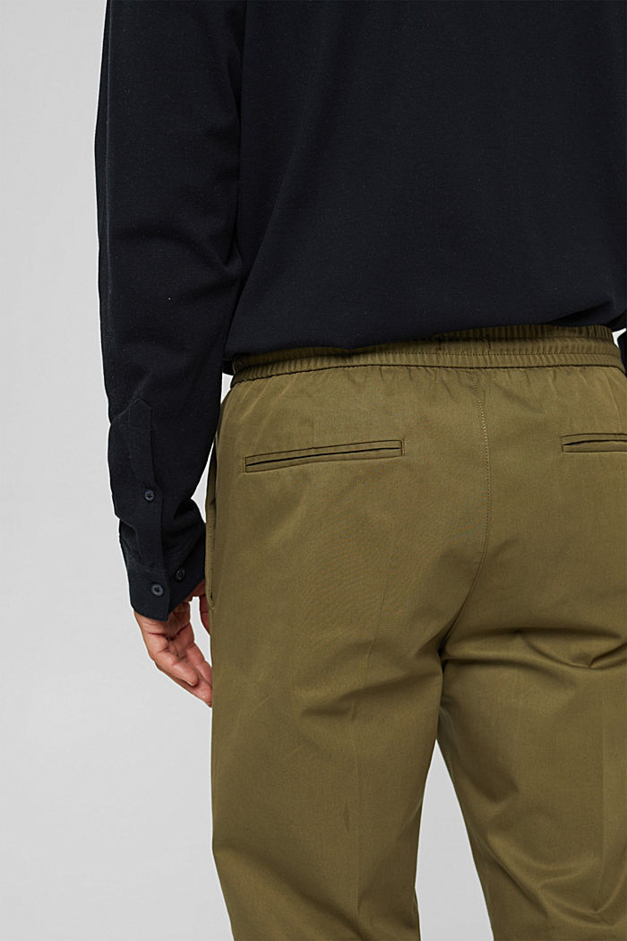 Chinos with an elasticated waistband made of blended organic cotton, LIGHT KHAKI, detail image number 5