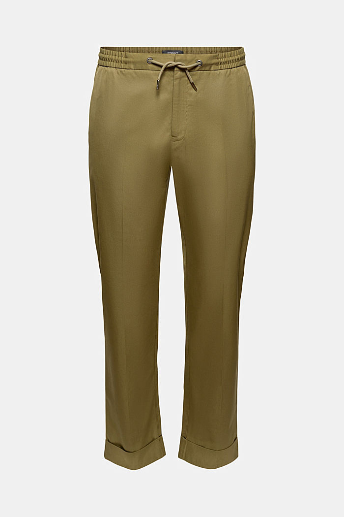 Chinos with an elasticated waistband made of blended organic cotton, LIGHT KHAKI, detail image number 6