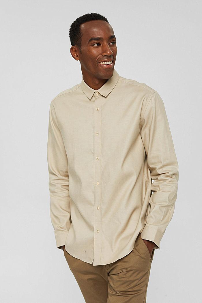 Hemd aus TENCEL™ und Baumwolle, BEIGE, detail image number 0