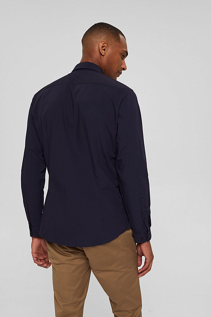 Mit Leinen/COOLMAX®: Hemd mit variablem Kragen, NAVY, detail image number 3
