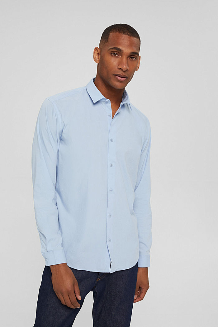 Mit Leinen/COOLMAX®: Hemd mit variablem Kragen, LIGHT BLUE, detail image number 0