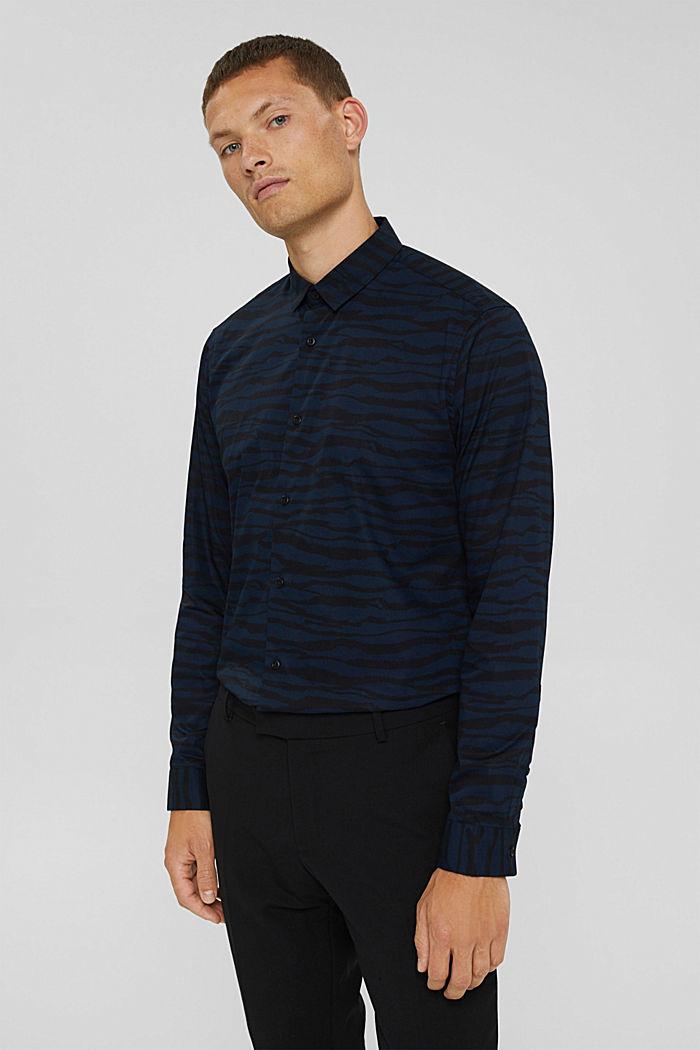 Gemustertes Hemd aus 100% Organic Cotton, DARK BLUE, detail image number 0