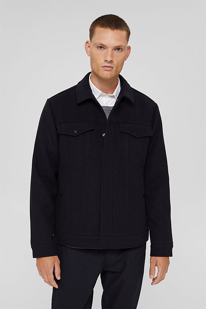 Responsible Wool: Jacke mit RWS Wolle, DARK BLUE, detail image number 0
