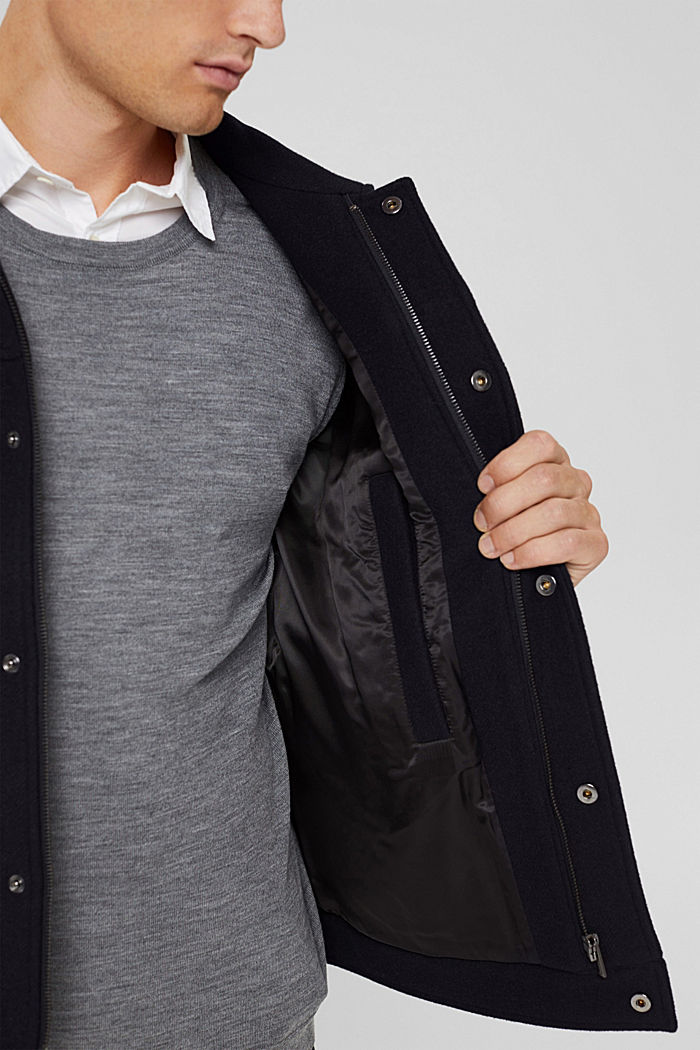 Responsible Wool: Jacke mit RWS Wolle, DARK BLUE, detail image number 5