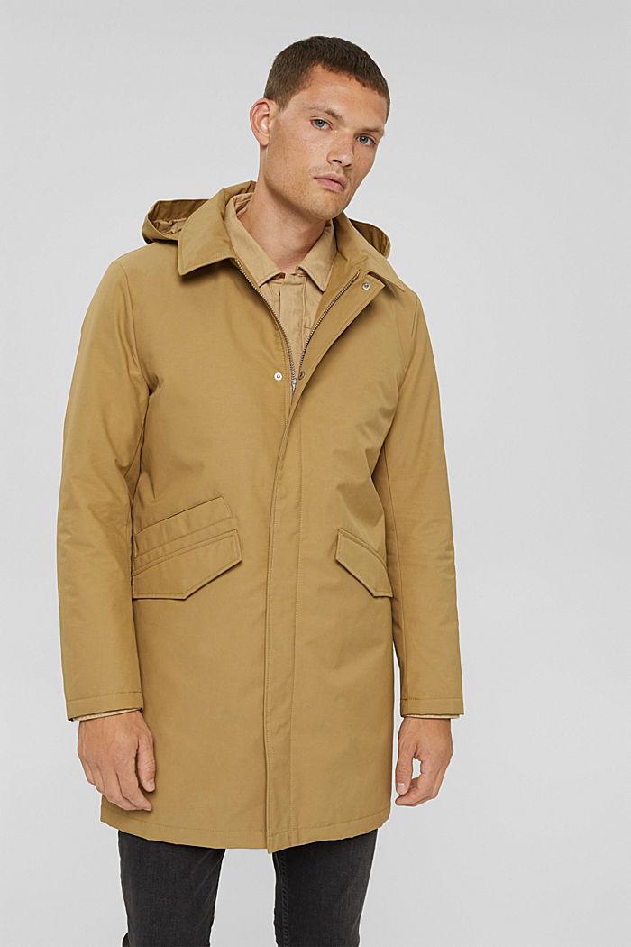 Manteau rembourré en coton mélangé, BEIGE, detail image number 0