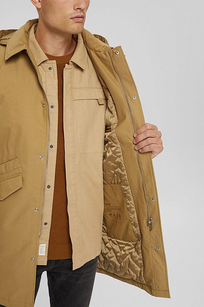 Manteau rembourré en coton mélangé, BEIGE, detail image number 7