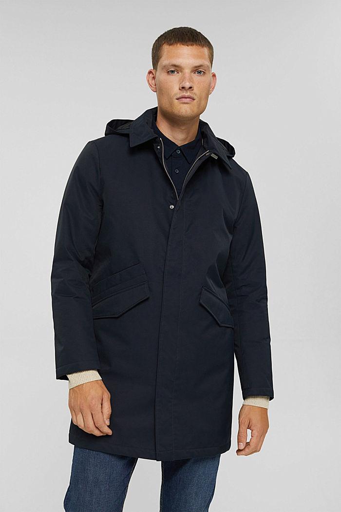 Gewatteerde mantel van een katoenmix, DARK BLUE, detail image number 0