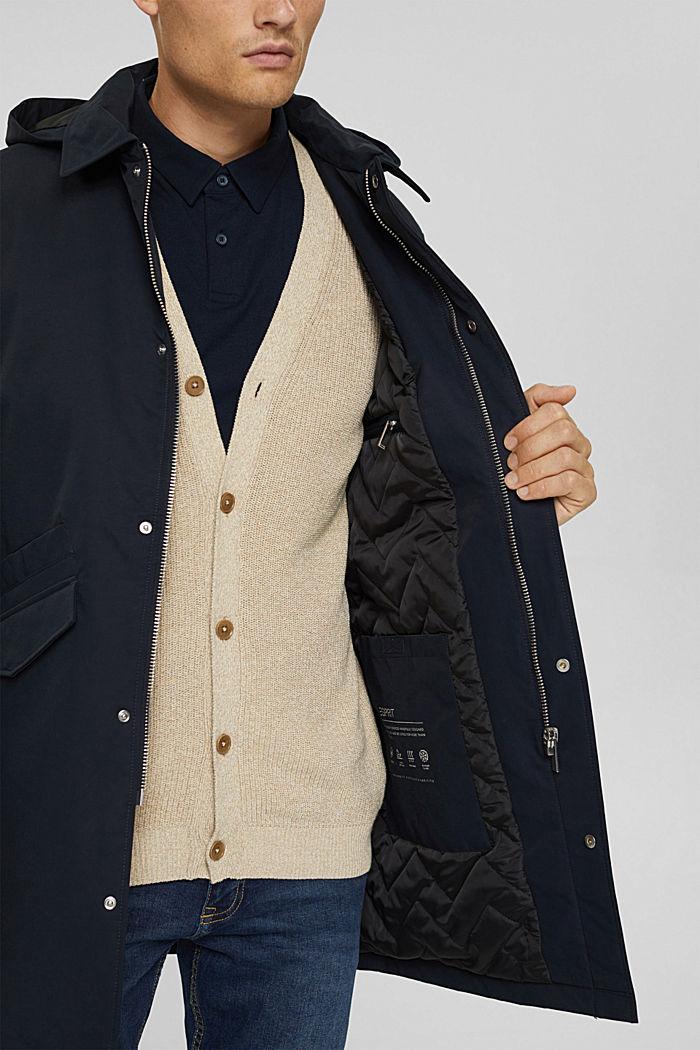 Gewatteerde mantel van een katoenmix, DARK BLUE, detail image number 6