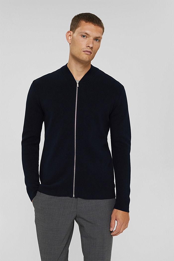 Zip cardigan made of 100% pima cotton, NAVY, detail image number 0