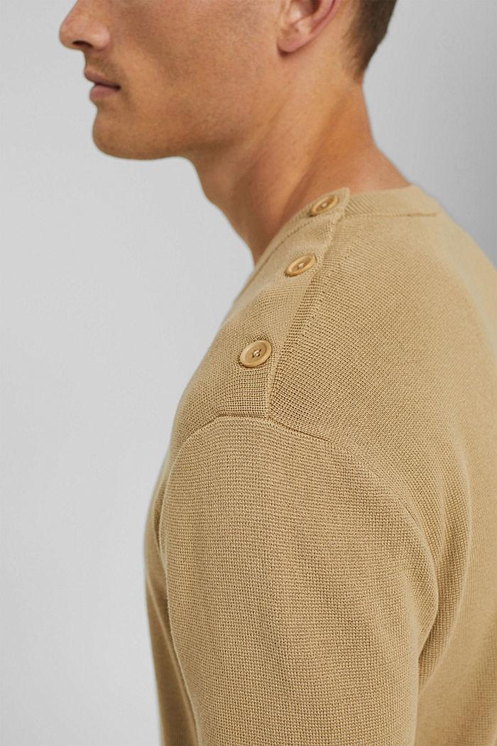 Trui met knoopsluiting, 100% katoen, BEIGE, detail image number 2