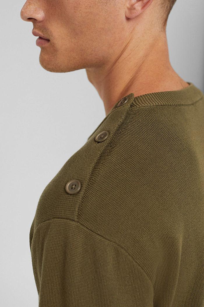 Jumper with a button placket, 100% cotton, LIGHT KHAKI, detail image number 2
