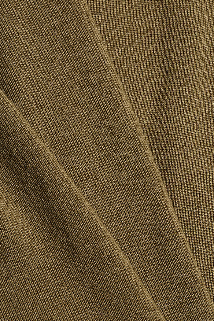 Jumper with a button placket, 100% cotton, LIGHT KHAKI, detail image number 4