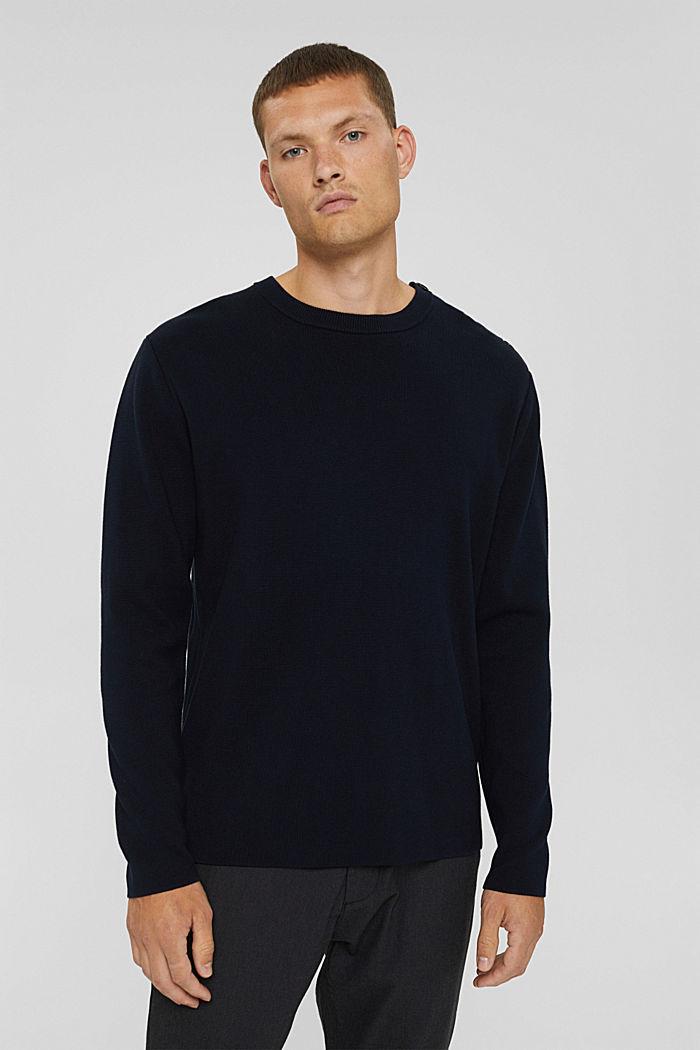 Pullover mit Knopfleiste, 100% Baumwolle, NAVY, detail image number 0