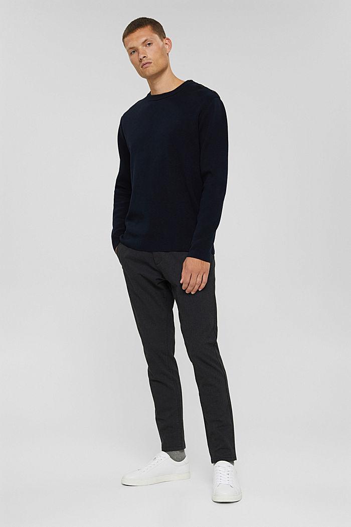 Pullover mit Knopfleiste, 100% Baumwolle, NAVY, detail image number 1