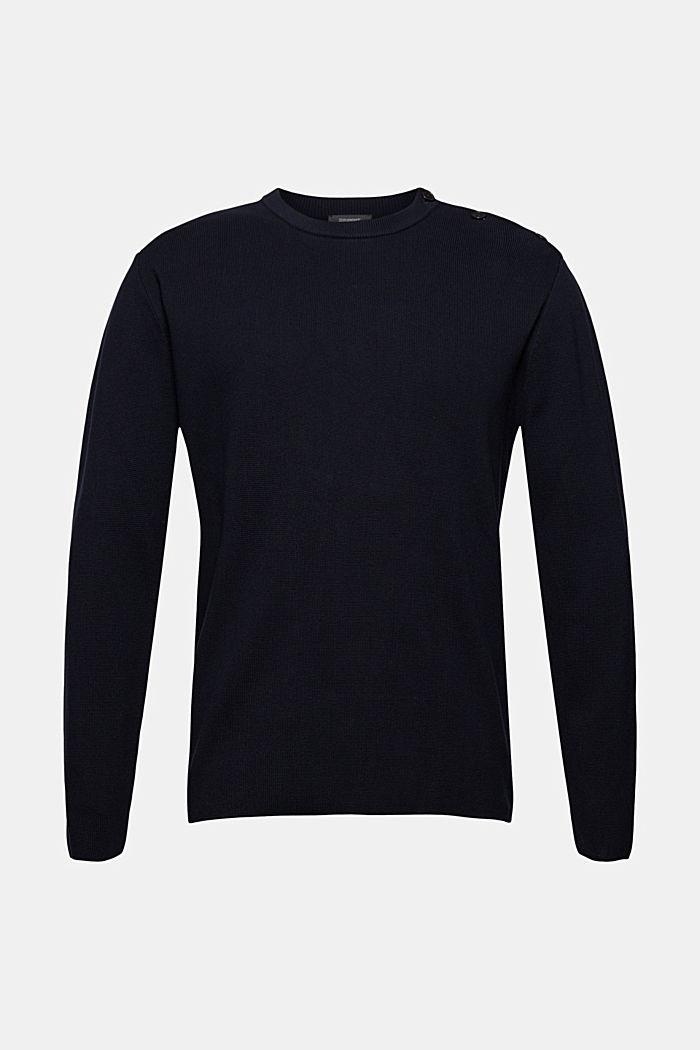 Pullover mit Knopfleiste, 100% Baumwolle, NAVY, detail image number 5