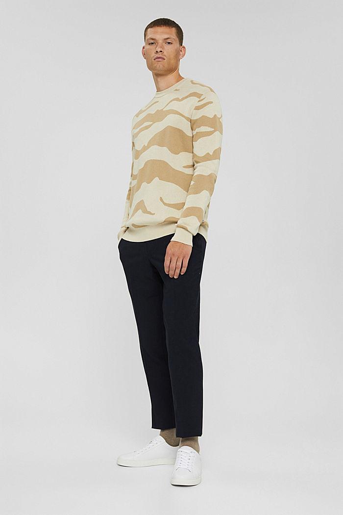 Gemusterter Pullover aus Pima-Baumwolle, LIGHT BEIGE, detail image number 6