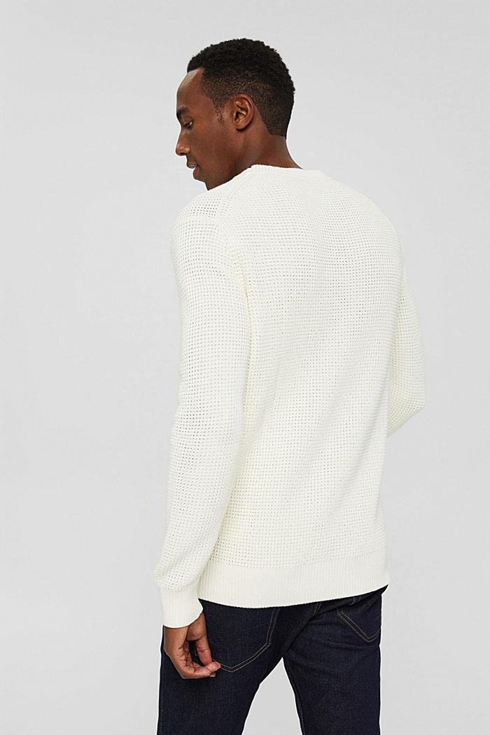 Gebreide trui van pima katoen, OFF WHITE, detail image number 3