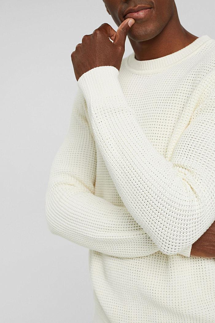 Gebreide trui van pima katoen, OFF WHITE, detail image number 2