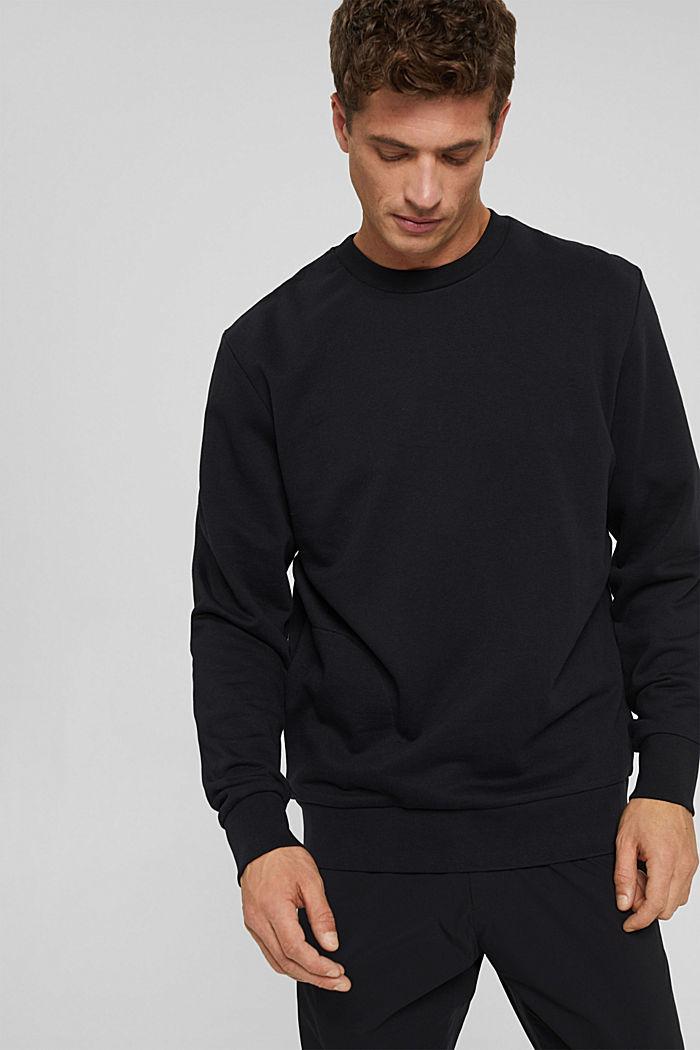 Sweat-shirt en coton mélangé à teneur en TENCEL™, BLACK, detail image number 0