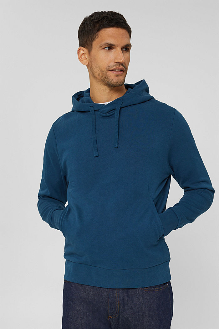 Sweat à capuche en coton mélangé à teneur en TENCEL™, PETROL BLUE, detail image number 0