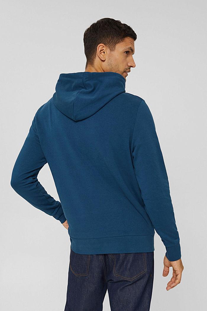 Sweat à capuche en coton mélangé à teneur en TENCEL™, PETROL BLUE, detail image number 3
