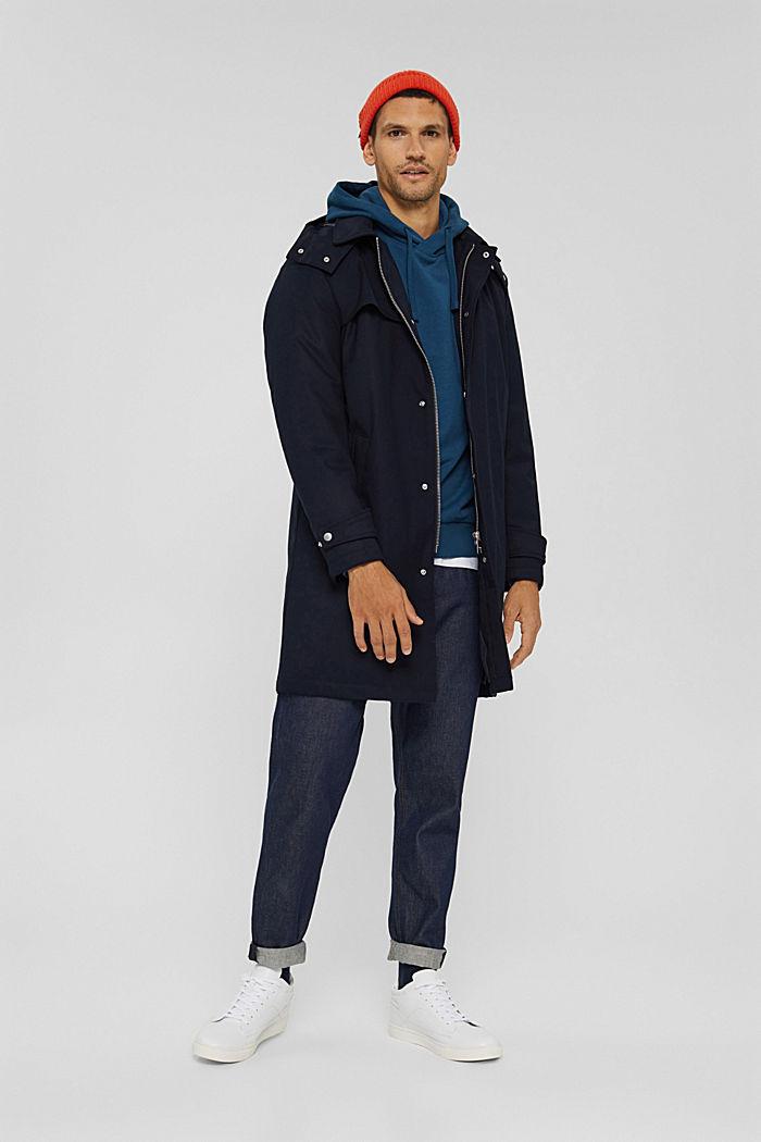 Sweat à capuche en coton mélangé à teneur en TENCEL™, PETROL BLUE, detail image number 1