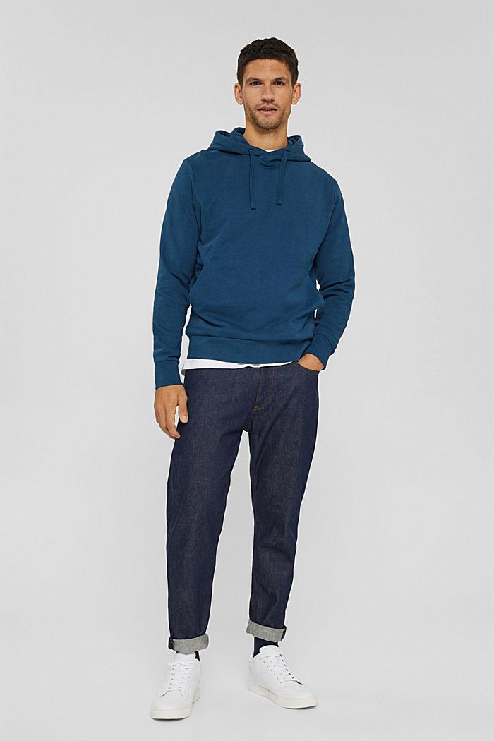 Sweat à capuche en coton mélangé à teneur en TENCEL™, PETROL BLUE, detail image number 8