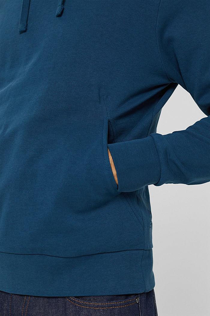 Sweat à capuche en coton mélangé à teneur en TENCEL™, PETROL BLUE, detail image number 2