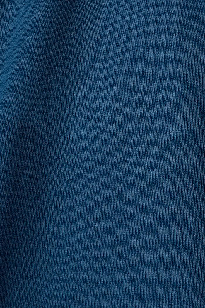 Sweat à capuche en coton mélangé à teneur en TENCEL™, PETROL BLUE, detail image number 4